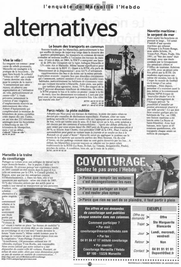 2005.01.26.Marseille LHebdo. Alternatives vive le vélo 731x1080