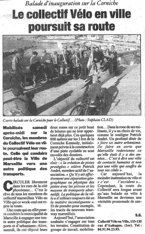 2004.12.13.La Marseillaise.Le collectif Vélo en Ville poursuit sa route