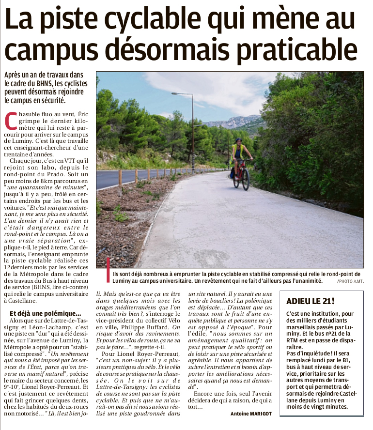 Provence  01 09 2018 Piste cyclable Luminy - Parution-du-01-septembre-2018